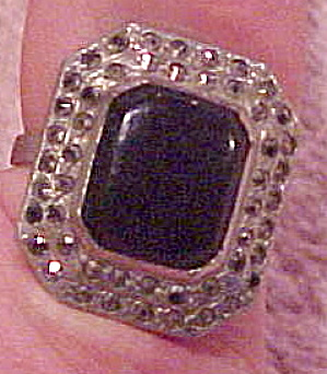 Sterling ring with marcasite and onyx (Image1)
