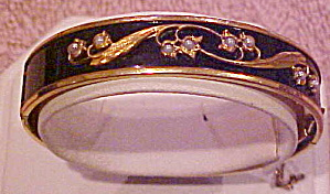 Gold filled enamel bangle with faux pearls (Image1)