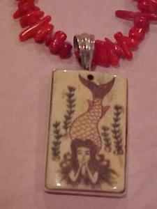 Coral necklace with bone pendant mermaid (Image1)