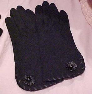black brushed cotton gloves w/leather (Image1)