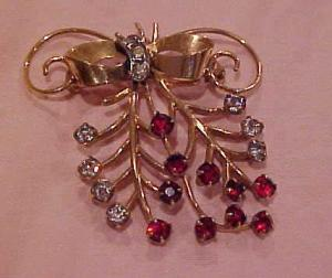 Vermeil Bow Pin With Rhinestones