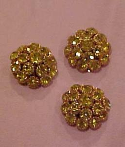 3 yellow rhinestone buttons (Image1)