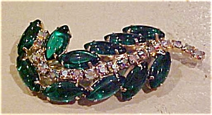 Leaf pin with rhinestones (Image1)
