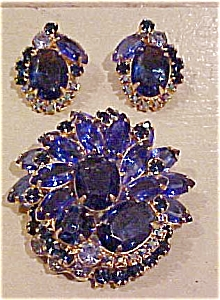 Blue rhinestone pin and earrings (Image1)