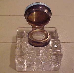 Crystal inkwell with enameled top (Image1)