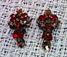 Red and Smoke Rhinestone earrings (Image1)