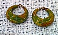 End Of The Day Green Bakelite Hoop Earrings