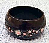 Black Bakelite Bangle with Painted Flowers (Image1)