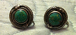 Snake earrings with turquoise colored stones (Image1)