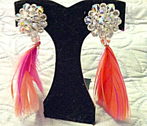 Pink Feather earrings with Crystal beads (Image1)