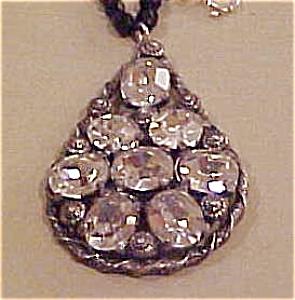 Czech pendant on black bead necklace (Image1)