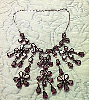 Floral Bib Style Necklace Purple (Image1)