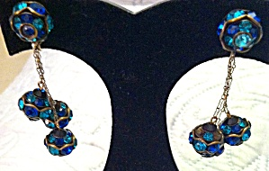 Blue and Green Dangling Rhinestone Earrings (Image1)