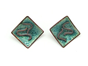 1960s Copper & Enamel Earrings (Image1)