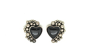 Sterling & Onyx Heart Shaped Earrings