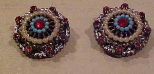 Art earrings w/faux pearls & rhinestones (Image1)