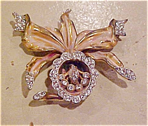 Enameled flower lily pin with rhinestones (Image1)