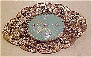 Art Nouveau sash pin with rhinestones (Image1)