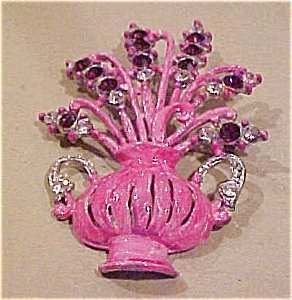 Enameled flower pot brooch w/rhinestones (Image1)