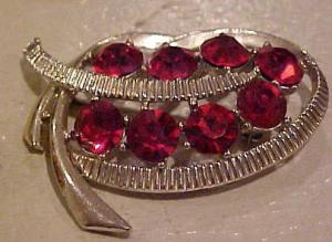 Kramer Red Rhinestone Pin