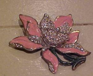 Flower pin with enameling & rhinestones (Image1)