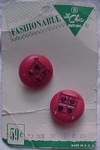 Le chic red plastic buttons with rhinestones on card (Image1)