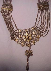 Czechoslovakian ornate brass festoon necklace (Image1)