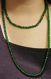 Czechoslovakian faceted green glass bead necklace. (Image1)