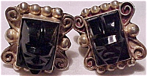 Mexican Sterling earrings with black onyx (Image1)