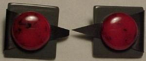 Grey and red plastic earrings. (Image1)