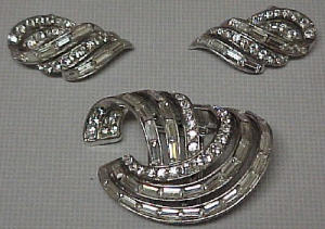 Boucher rhinestone fur clip & earrings (Image1)