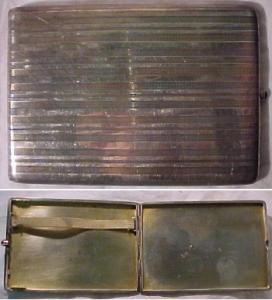 Sterling silver cigerette case w/blue cabocho (Image1)