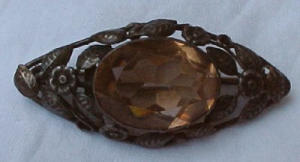 Sterling art nouveau pin with topaz glass (Image1)