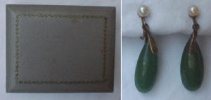 Silver earrings w/jade and pearls (Image1)