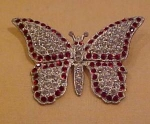 Click here to enlarge image and see more about item b1000: Red and clear 1920's butterfly pin