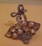 Basket brooch with rhinestones