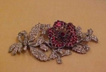 Red Clear rhinestone flower pin