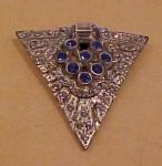 Art deco blue clear rhinestone dress clip