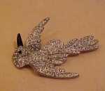 Rhinestone Bird pin with enameling