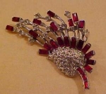 Red and clear rhinestone pin