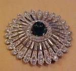 Art deco dress clip w/rhinestones & cabochon