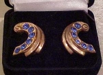 Coro retro earrings with blue rhinestones