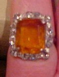 Art Deco ring w/topaz glass & rhinestones