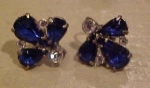 Blue and clear rhinestone earrings
