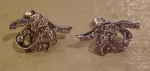 Sterling bow earrings w/rhinestones