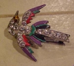 Enamel and rhinestone bird pin