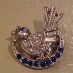 Rhinestone bird pin