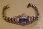 Art deco bracelet w/clear blue rhinestones