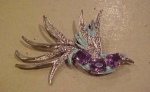 Rhinestone and enamel Bird pin
