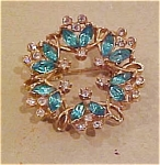 Light blue and clear rhinestone pin